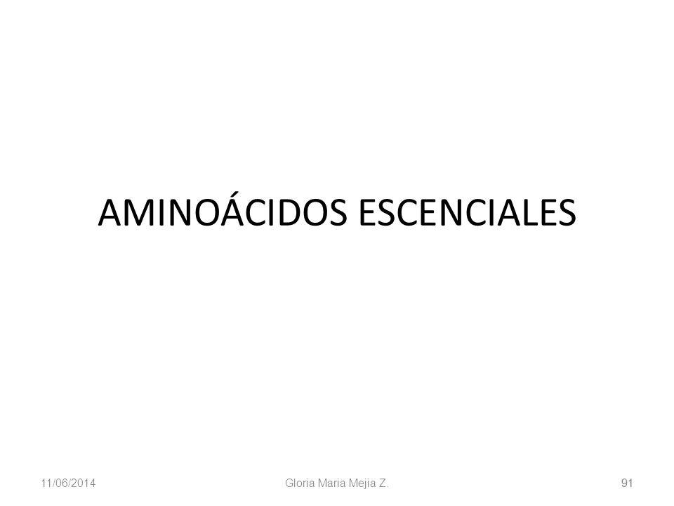 11/06/2014 Gloria Maria Mejia Z. 91 AMINOÁCIDOS ESCENCIALES