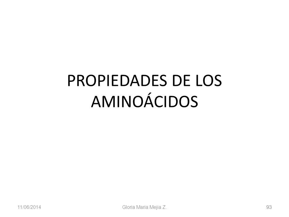 11/06/2014 Gloria Maria Mejia Z. 93 PROPIEDADES DE LOS AMINOÁCIDOS