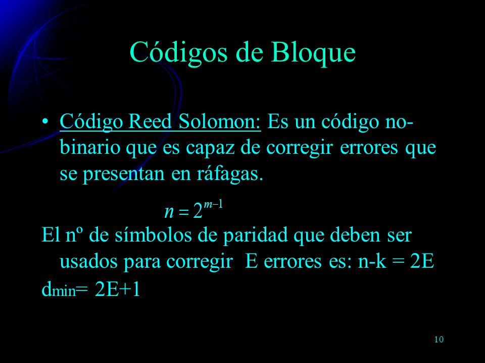 10 Código Reed Solomon: Es un código no- binario que es capaz de corregir errores que se presentan en ráfagas. El nº de símbolos de paridad que deben