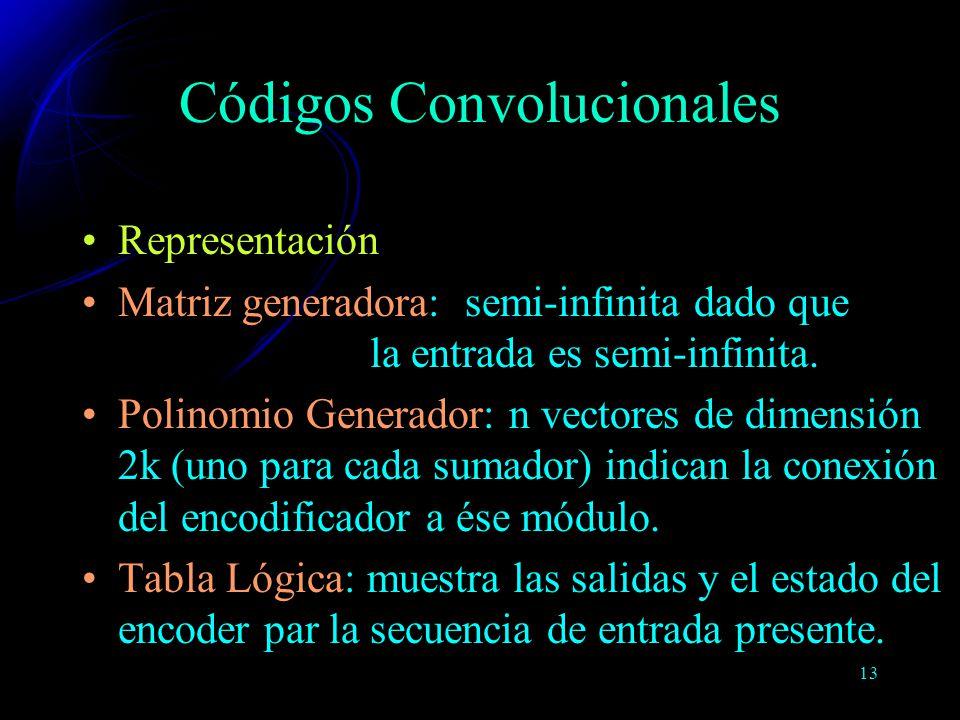 13 Representación Matriz generadora: semi-infinita dado que la entrada es semi-infinita. Polinomio Generador: n vectores de dimensión 2k (uno para cad
