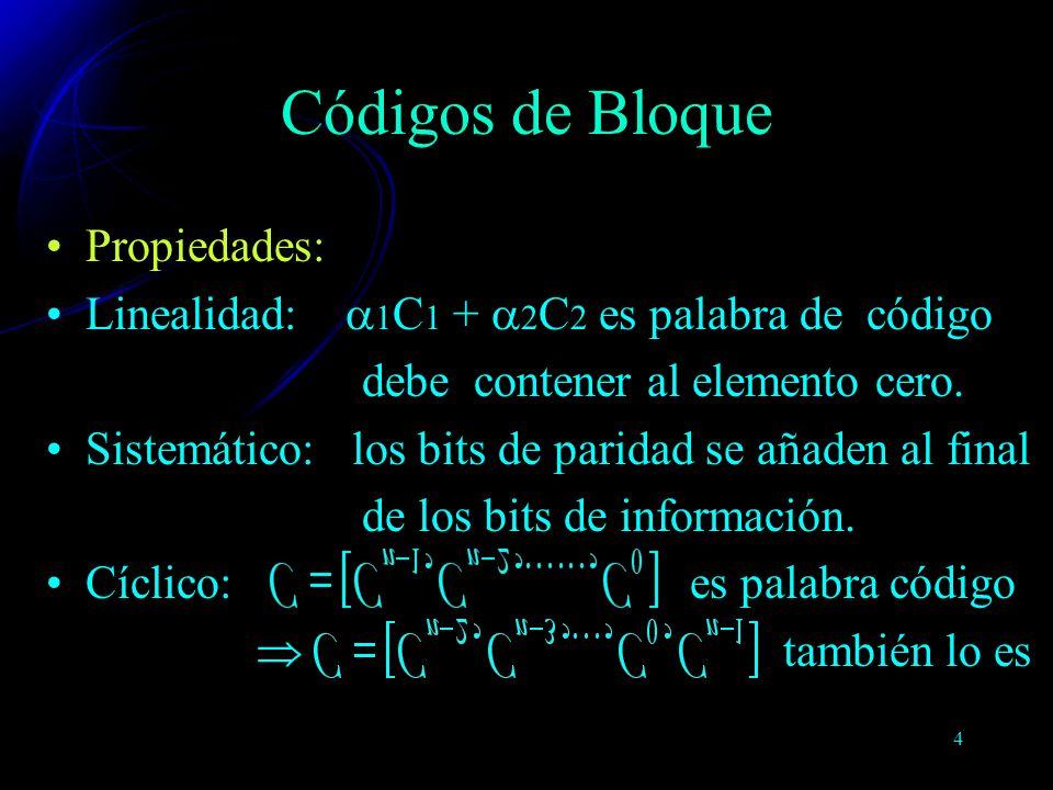 5 Campos FinitosLas técnicas de codificación y decodificación hacen uso de las construcciones matemáticas conocidas como Campos Finitos GF(p)Para cualquier número p, existe un campo finito que contiene p elementos: GF(p) Extensión del campo de GF(p) En la práctica: caso binario: GF(2) Códigos de Bloque