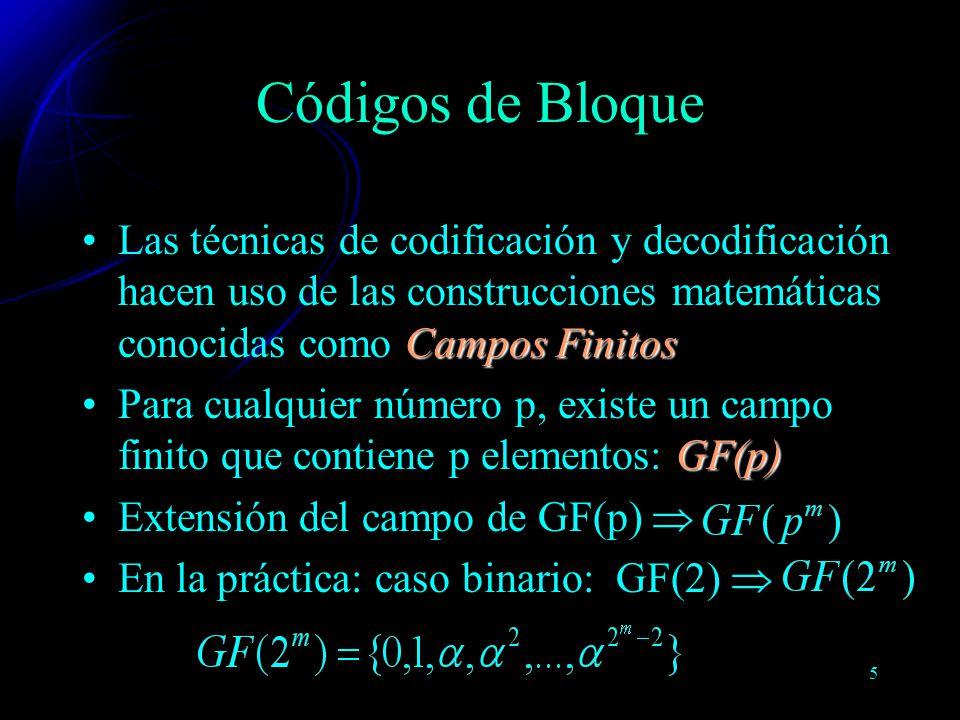 5 Campos FinitosLas técnicas de codificación y decodificación hacen uso de las construcciones matemáticas conocidas como Campos Finitos GF(p)Para cual