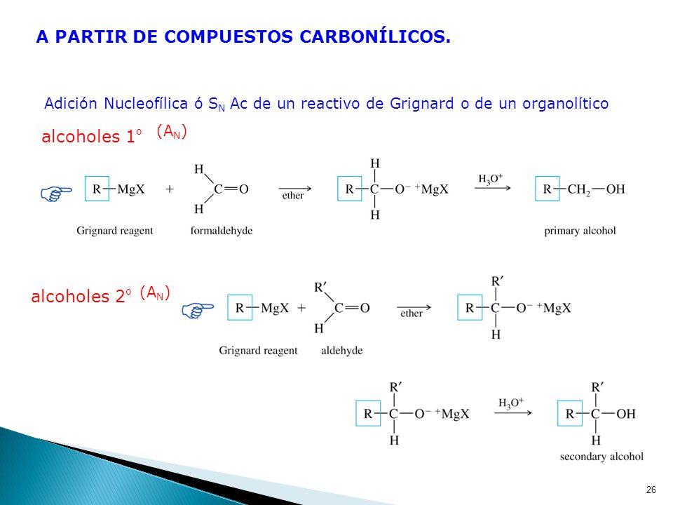 PREPARACIÓN DE ALCOHOLES POR SUSTITUCIÓN NUCLEOFÍLICA Para ocasionar la sustitución de un grupo buen saliente por un OH puede emplearse como nucleófil