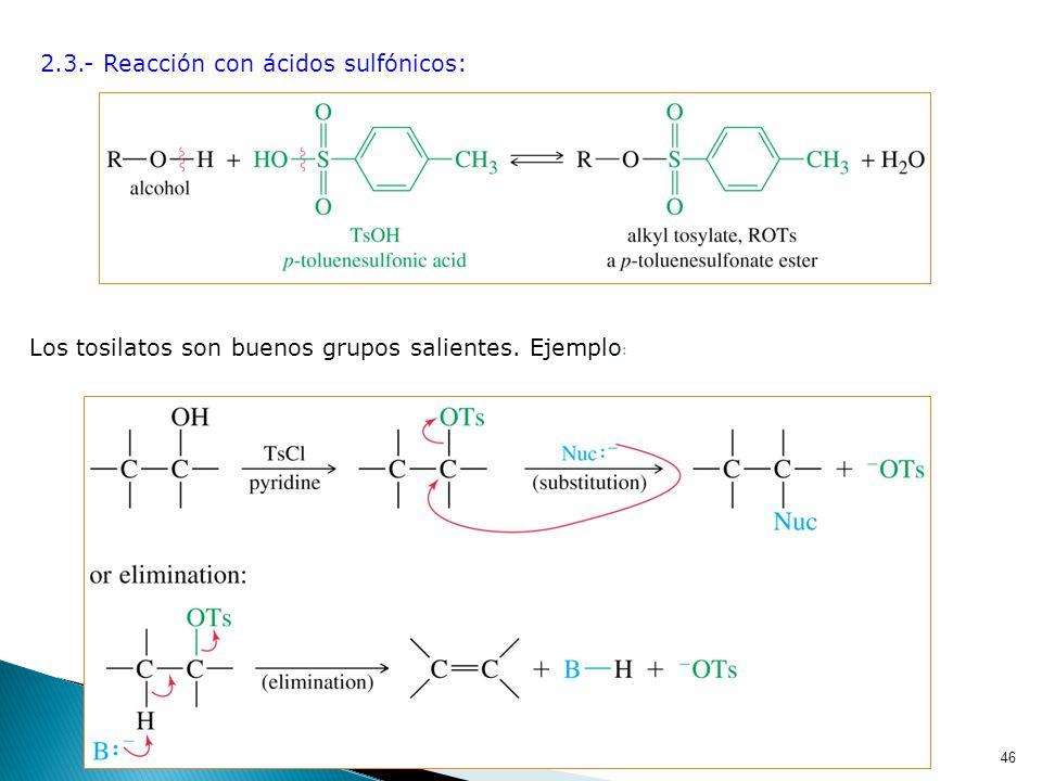 45 b) Reacciones que implican un enlace O-H 2.2.- Reacción con haluros de ácido: 2.1.- Reacción con ácidos: Esterificación de Fischer 1.- Acidez. Reac