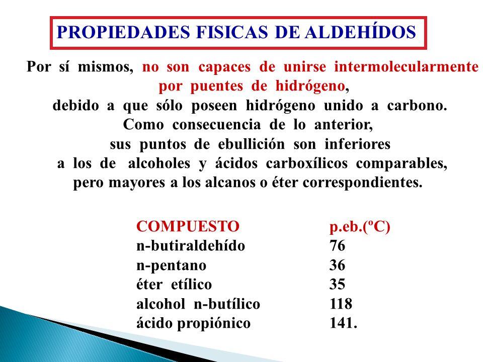 Propiedades fisicas de los aldehidos Compuesto Peso Mol. Punto de ebullición Solubilidad (agua) (CH 3 ) 2 C=CH 2 56-7.0 ºC0.04 g/100 (CH 3 ) 2 C=O5856
