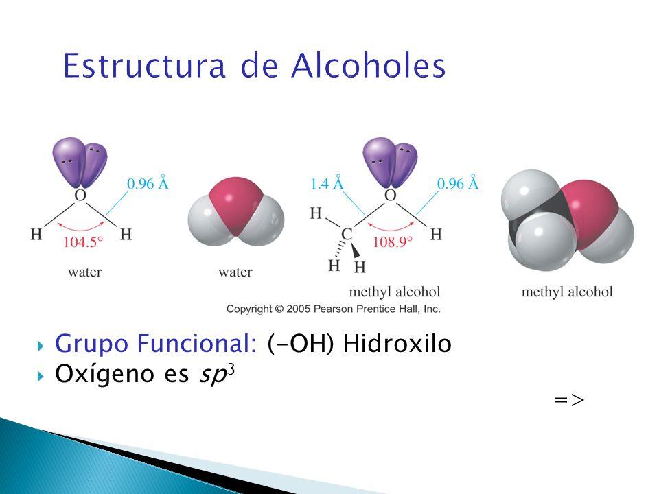 Estructura de Alcoholes Grupo Funcional: (-OH) Hidroxilo Oxígeno es sp 3 =>