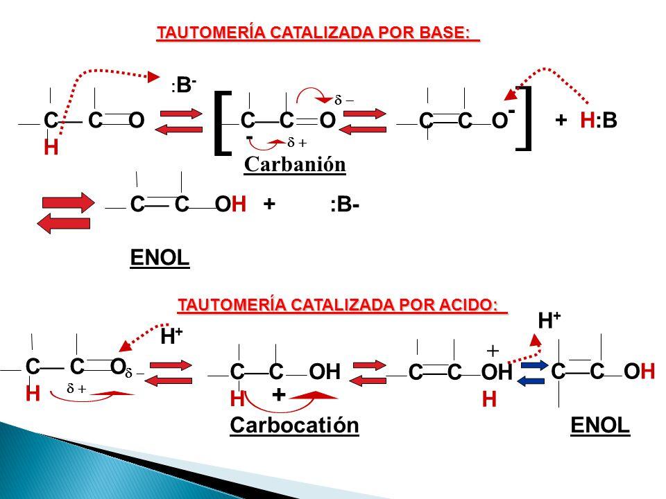 El enol es un alcohol en el cual el grupo hidroxilo está en un carbono unido mediante doble enlace a otro carbono Las cetonas, tanto en medio básico c