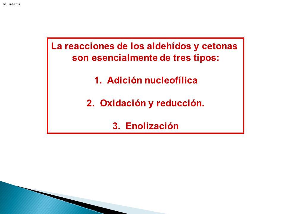 Las propiedades químicas de un aldehído o cetona son la consecuencia de su estructura electrónica. M. Adonis