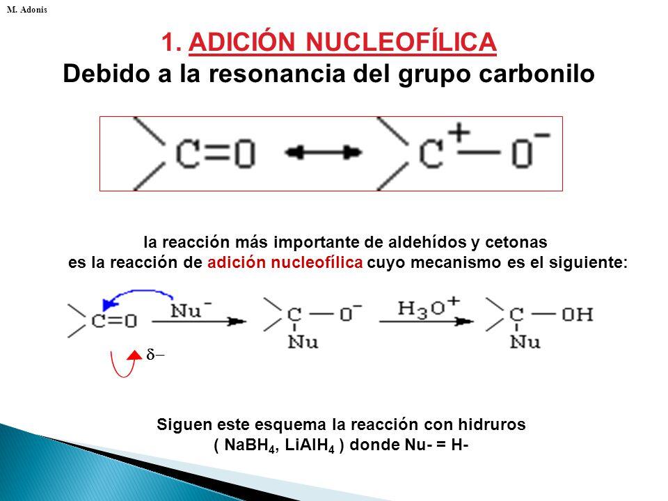 La reacciones de los aldehídos y cetonas son esencialmente de tres tipos: 1. Adición nucleofílica 2. Oxidación y reducción. 3. Enolización M. Adonis
