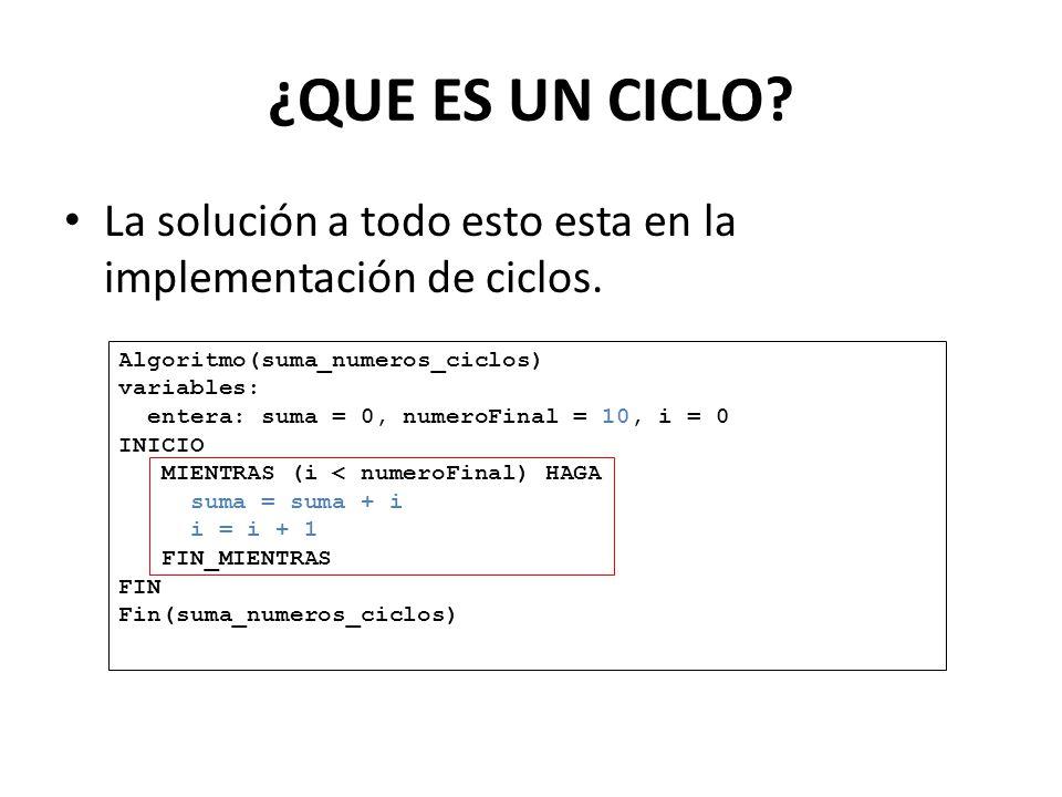 ¿QUE ES UN CICLO? La solución a todo esto esta en la implementación de ciclos. Algoritmo(suma_numeros_ciclos) variables: entera: suma = 0, numeroFinal
