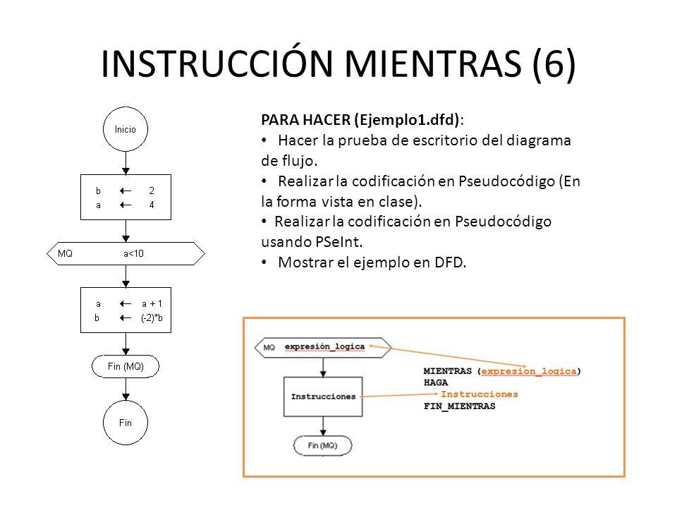 INSTRUCCIÓN MIENTRAS (6) PARA HACER (Ejemplo1.dfd): Hacer la prueba de escritorio del diagrama de flujo. Realizar la codificación en Pseudocódigo (En