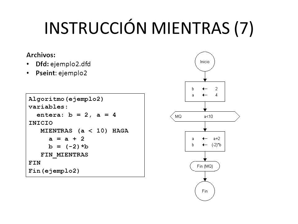 INSTRUCCIÓN MIENTRAS (7) Algoritmo(ejemplo2) variables: entera: b = 2, a = 4 INICIO MIENTRAS (a < 10) HAGA a = a + 2 b = (-2)*b FIN_MIENTRAS FIN Fin(e