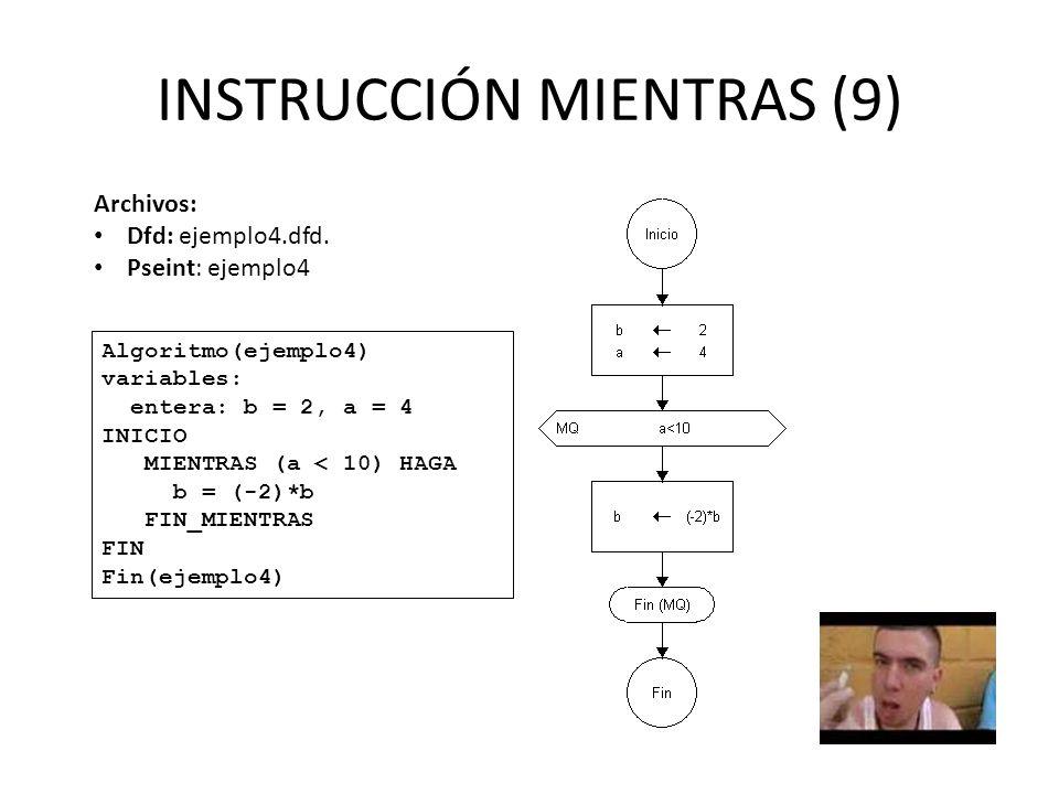 INSTRUCCIÓN MIENTRAS (9) Algoritmo(ejemplo4) variables: entera: b = 2, a = 4 INICIO MIENTRAS (a < 10) HAGA b = (-2)*b FIN_MIENTRAS FIN Fin(ejemplo4) A