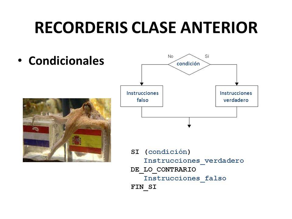 RECORDERIS CLASE ANTERIOR Condicionales condición Instrucciones falso Instrucciones verdadero SI (condición) Instrucciones_verdadero DE_LO_CONTRARIO I