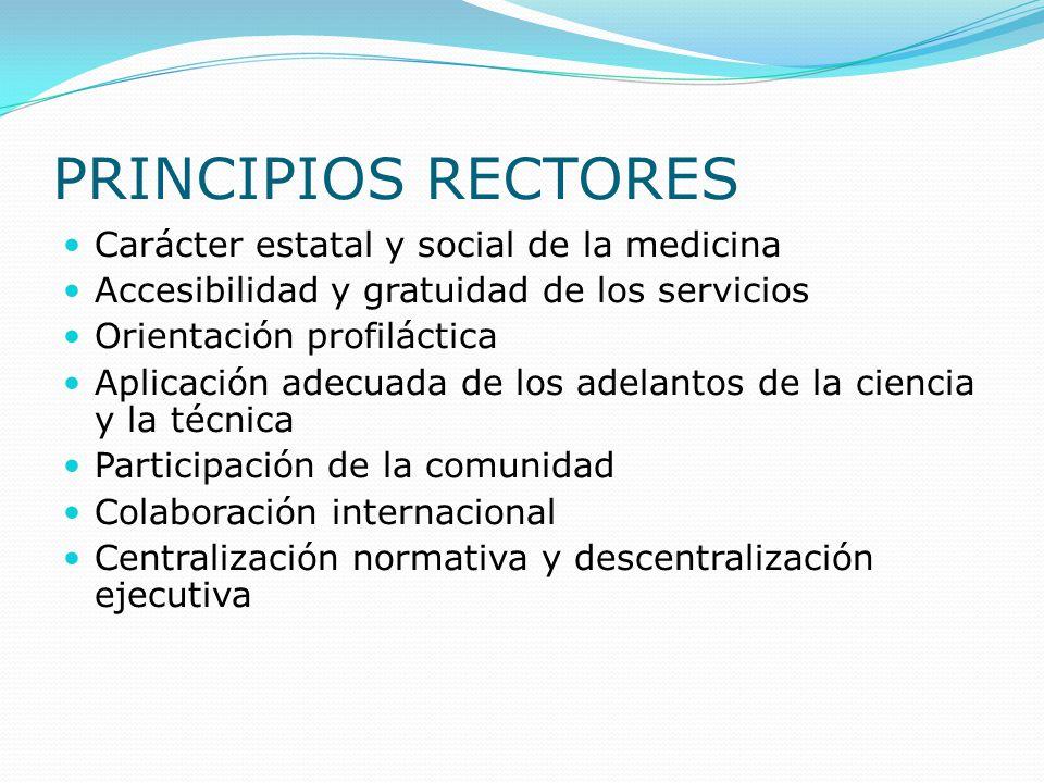 PRINCIPIOS RECTORES Carácter estatal y social de la medicina Accesibilidad y gratuidad de los servicios Orientación profiláctica Aplicación adecuada d