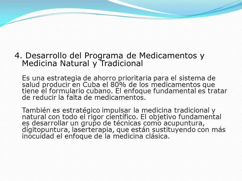 4. Desarrollo del Programa de Medicamentos y Medicina Natural y Tradicional Es una estrategia de ahorro prioritaria para el sistema de salud producir