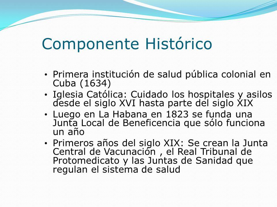 Componente Histórico Primera institución de salud pública colonial en Cuba (1634) Iglesia Católica: Cuidado los hospitales y asilos desde el siglo XVI