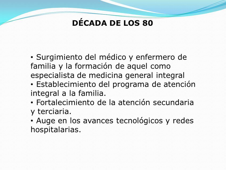 DÉCADA DE LOS 80 Surgimiento del médico y enfermero de familia y la formación de aquel como especialista de medicina general integral Establecimiento