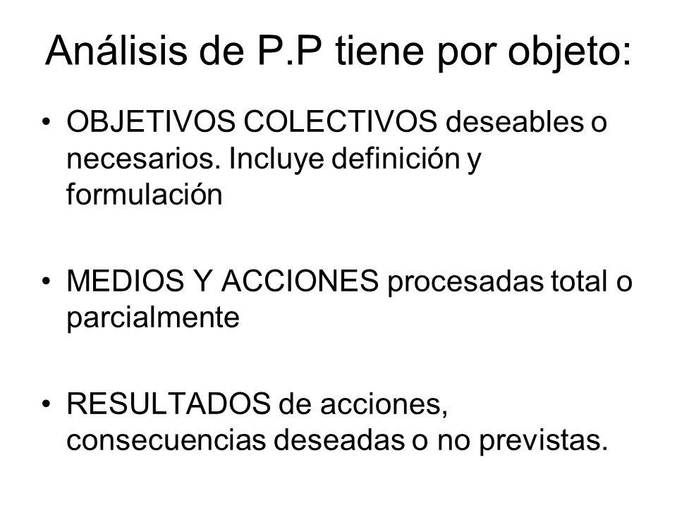 Objetivo análisis de P.P Identificación concreta de los actores que intervienen en un proceso de definición, decisión y de implementación de una política, y así mismo busca poner a la luz las posiciones, intereses y objetivos de esos actores.