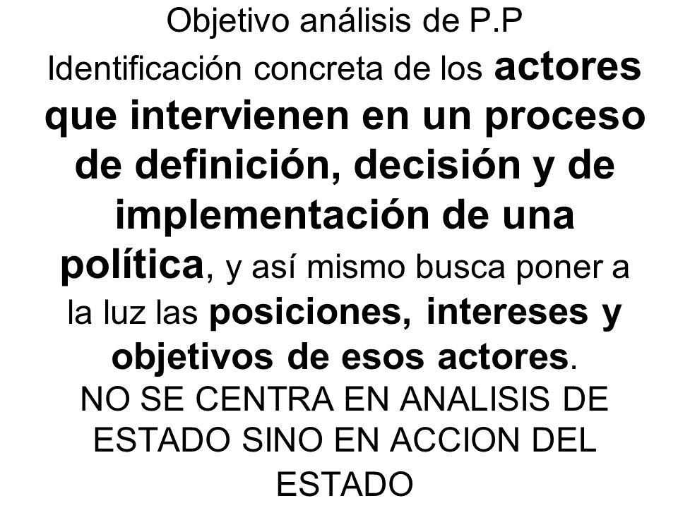 Cada política publica tiene un CAMPO DE INTERVENCION que puede ser objeto de varios subterritorios o subdivisiones.