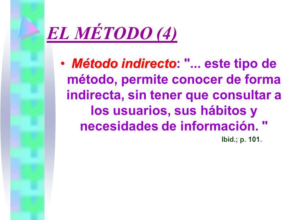 EL MÉTODO (4) Método indirectoMétodo indirecto: ...