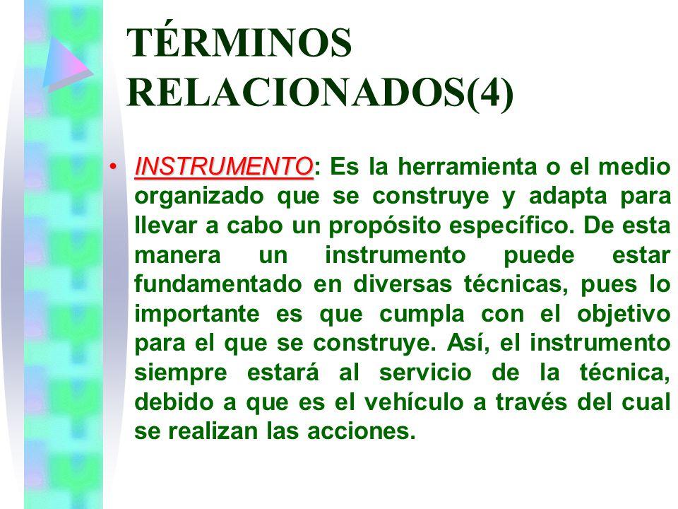 TÉRMINOS RELACIONADOS(4) INSTRUMENTOINSTRUMENTO: Es la herramienta o el medio organizado que se construye y adapta para llevar a cabo un propósito específico.