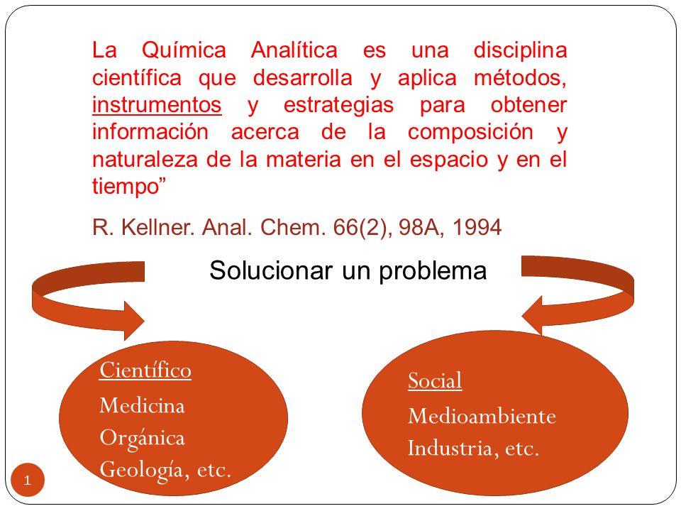 1 La Química Analítica es una disciplina científica que desarrolla y aplica métodos, instrumentos y estrategias para obtener información acerca de la