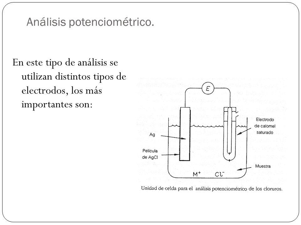 Análisis potenciométrico. En este tipo de análisis se utilizan distintos tipos de electrodos, los más importantes son: