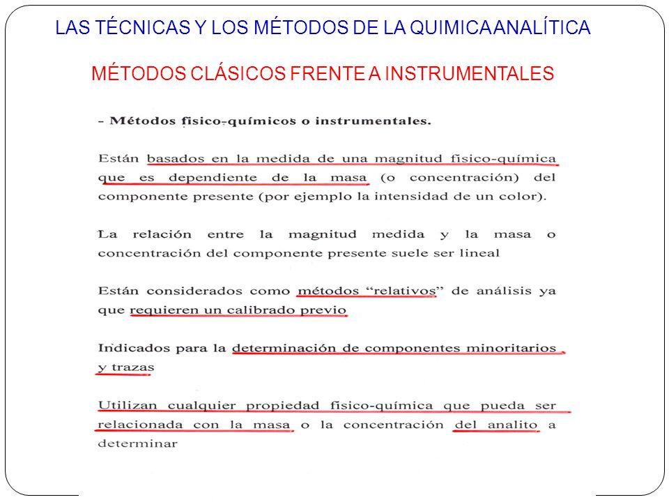LAS TÉCNICAS Y LOS MÉTODOS DE LA QUIMICA ANALÍTICA MÉTODOS CLÁSICOS FRENTE A INSTRUMENTALES