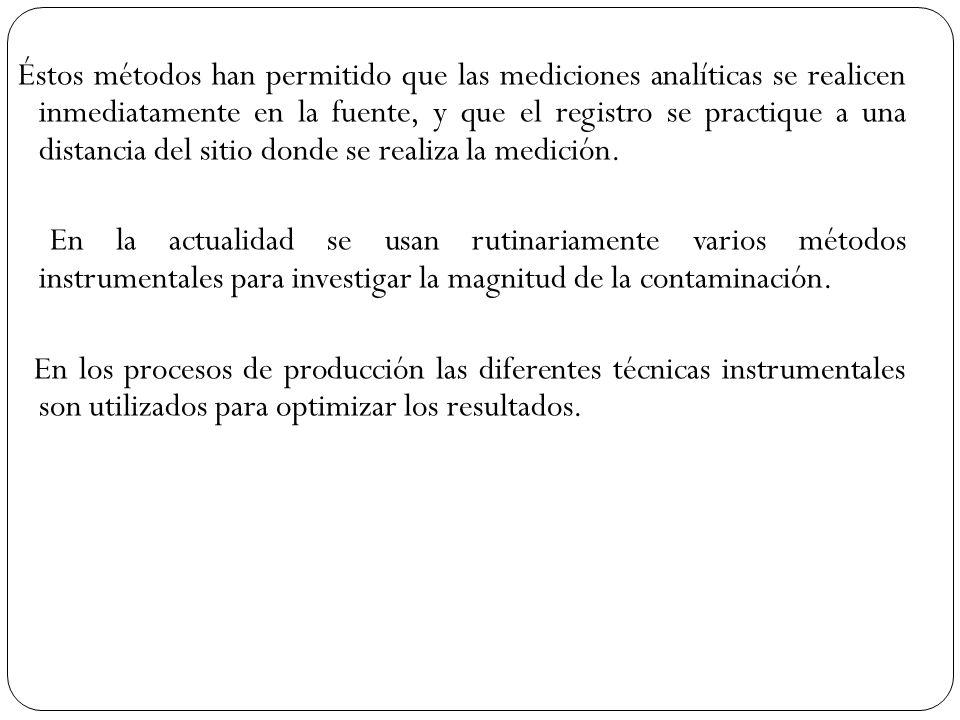 Éstos métodos han permitido que las mediciones analíticas se realicen inmediatamente en la fuente, y que el registro se practique a una distancia del