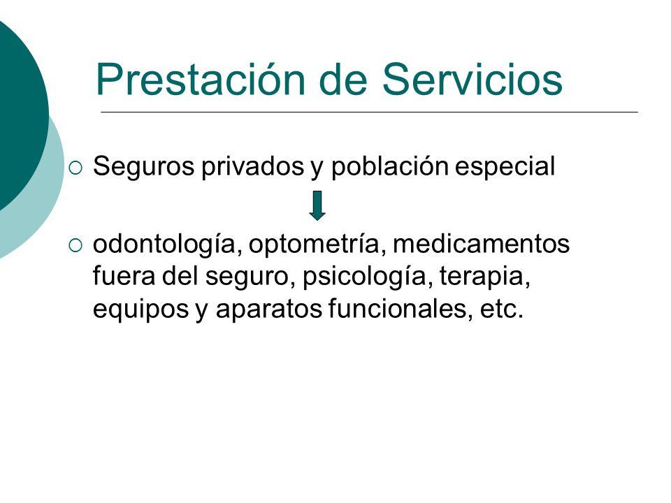 Seguros privados y población especial odontología, optometría, medicamentos fuera del seguro, psicología, terapia, equipos y aparatos funcionales, etc