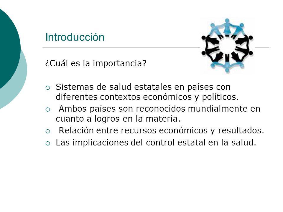 Introducción ¿Cuál es la importancia? Sistemas de salud estatales en países con diferentes contextos económicos y políticos. Ambos países son reconoci