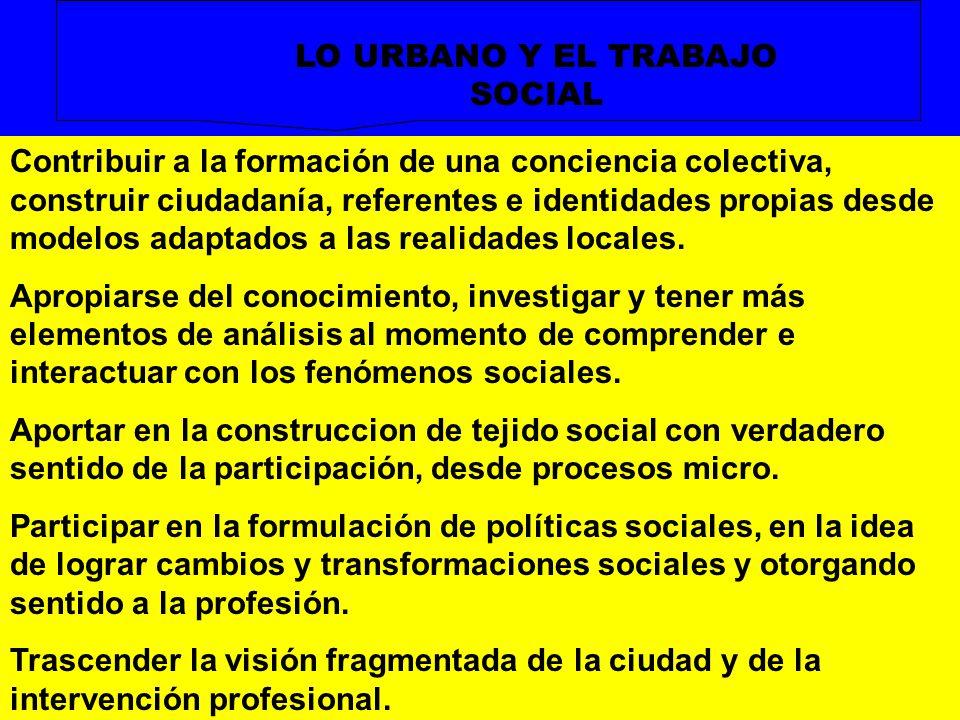 LO URBANO Y EL TRABAJO SOCIAL Contribuir a la formación de una conciencia colectiva, construir ciudadanía, referentes e identidades propias desde mode