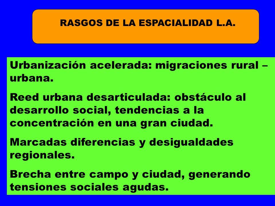 RASGOS DE LA ESPACIALIDAD L.A. Urbanización acelerada: migraciones rural – urbana. Reed urbana desarticulada: obstáculo al desarrollo social, tendenci