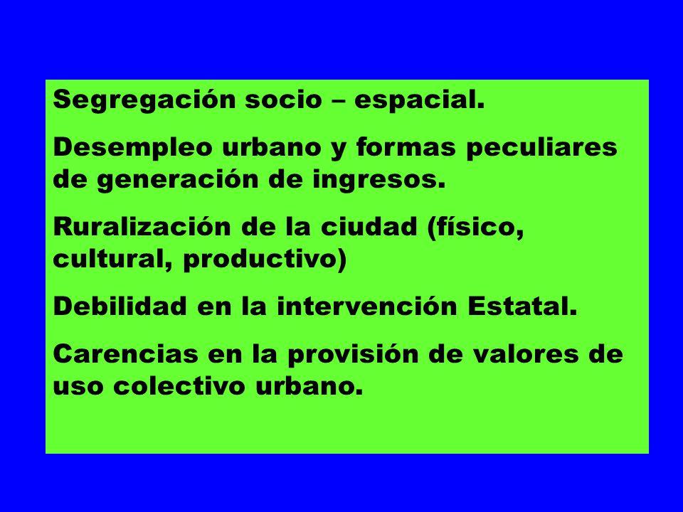 Segregación socio – espacial. Desempleo urbano y formas peculiares de generación de ingresos. Ruralización de la ciudad (físico, cultural, productivo)