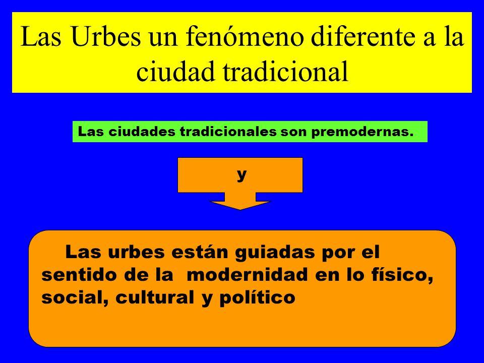 Las Urbes un fenómeno diferente a la ciudad tradicional Las urbes están guiadas por el sentido de la modernidad en lo físico, social, cultural y polít