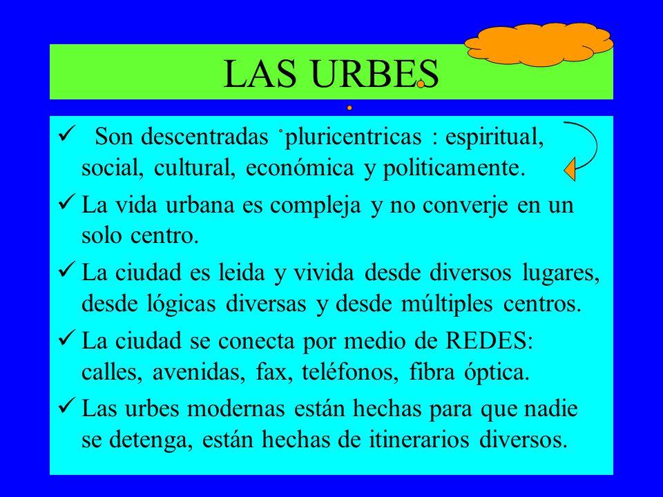 LAS URBES Son descentradas pluricentricas : espiritual, social, cultural, económica y politicamente. La vida urbana es compleja y no converje en un so