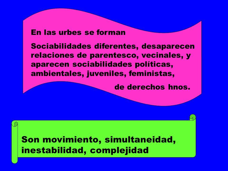 En las urbes se forman Sociabilidades diferentes, desaparecen relaciones de parentesco, vecinales, y aparecen sociabilidades políticas, ambientales, j
