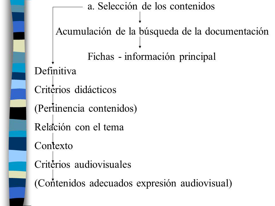 a. Selección de los contenidos Acumulación de la búsqueda de la documentación Fichas - información principal Definitiva Criterios didácticos (Pertinen