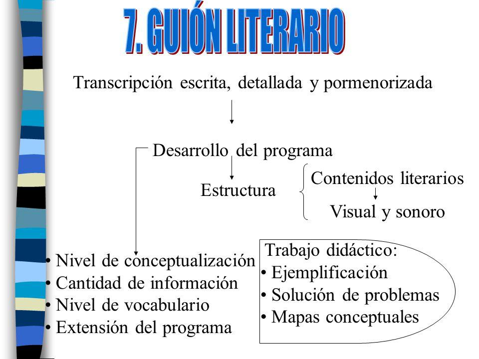 Transcripción escrita, detallada y pormenorizada Desarrollo del programa Estructura Contenidos literarios Visual y sonoro Nivel de conceptualización C