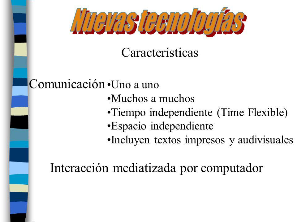 Características Comunicación Uno a uno Muchos a muchos Tiempo independiente (Time Flexible) Espacio independiente Incluyen textos impresos y audivisua