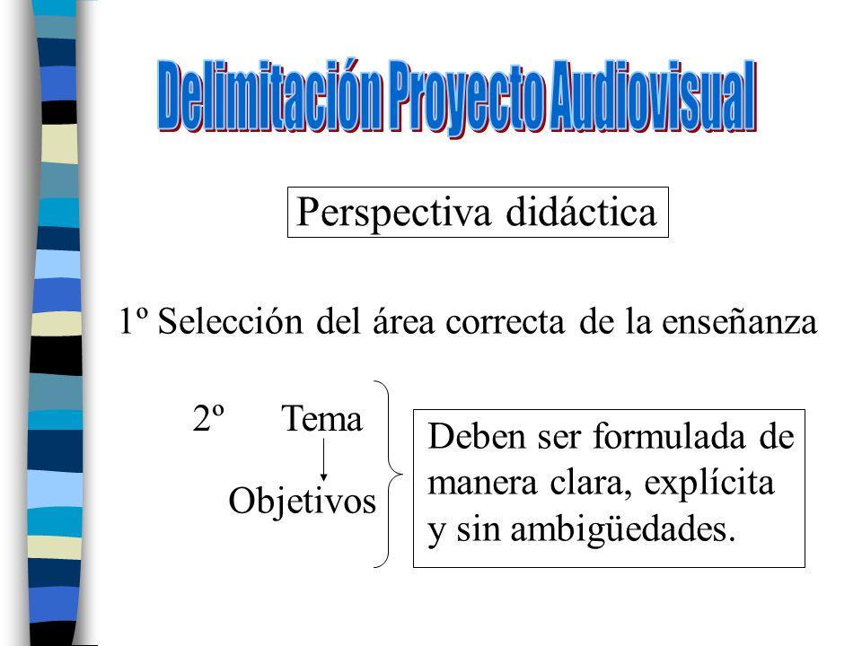 Perspectiva didáctica 1º Selección del área correcta de la enseñanza 2º Tema Objetivos Deben ser formulada de manera clara, explícita y sin ambigüedad