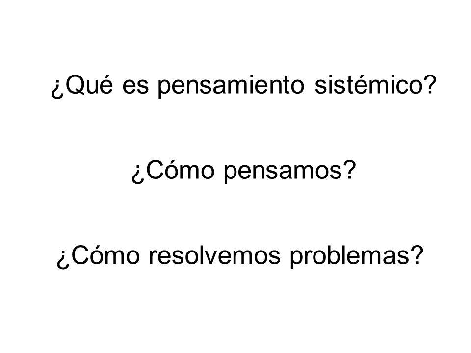 ¿Qué es pensamiento sistémico? ¿Cómo pensamos? ¿Cómo resolvemos problemas?