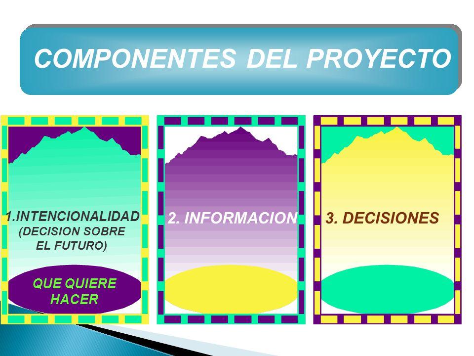 COMPONENTES DEL PROYECTO 1.INTENCIONALIDAD (DECISION SOBRE EL FUTURO) 2. INFORMACION3. DECISIONES QUE QUIERE HACER
