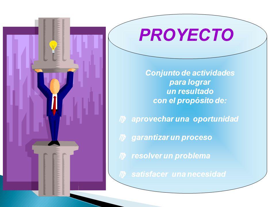 PROYECTO Conjunto de actividades para lograr un resultado con el propósito de: aprovechar una oportunidad garantizar un proceso resolver un problema s