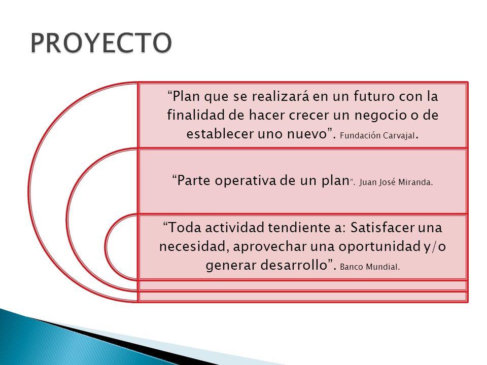 Plan que se realizará en un futuro con la finalidad de hacer crecer un negocio o de establecer uno nuevo. Fundación Carvajal. Parte operativa de un pl