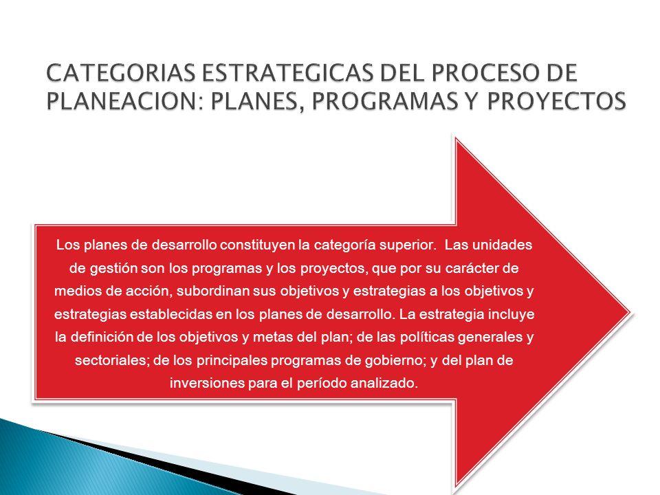 Los planes de desarrollo constituyen la categoría superior. Las unidades de gestión son los programas y los proyectos, que por su carácter de medios d