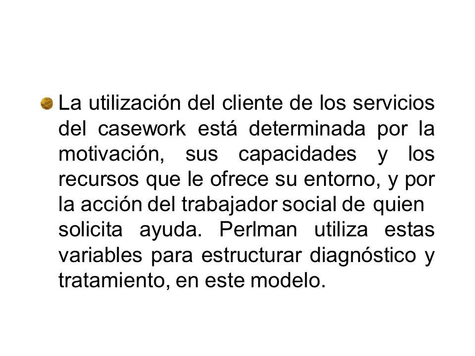 Perlman da del casework esta definición: una persona con un problema se dirige a un servicio (lugar) donde un profesional cualificado la ayuda según u