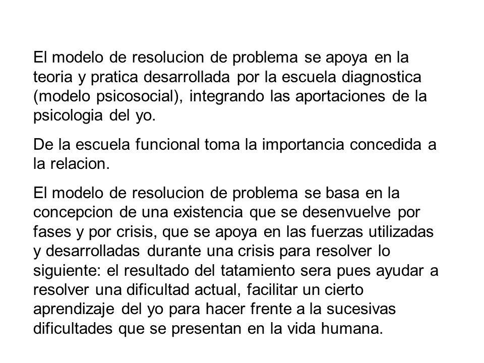 El modelo de resolucion de problema se apoya en la teoria y pratica desarrollada por la escuela diagnostica (modelo psicosocial), integrando las aportaciones de la psicologia del yo.