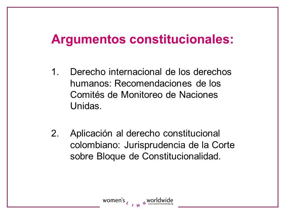 Argumentos constitucionales: 1.Derecho internacional de los derechos humanos: Recomendaciones de los Comités de Monitoreo de Naciones Unidas. 2. Aplic